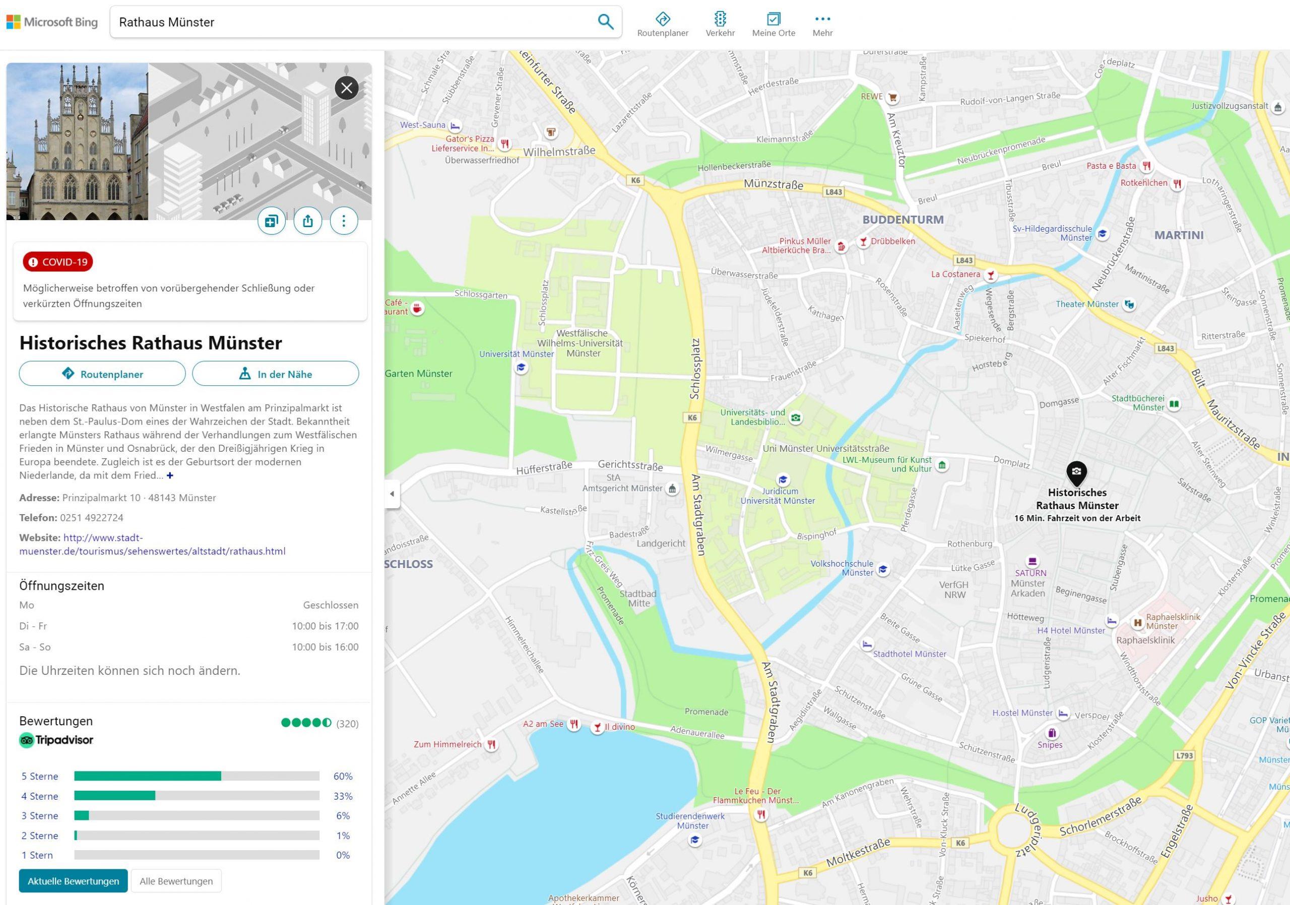 Bing Places Eintrag im Detail