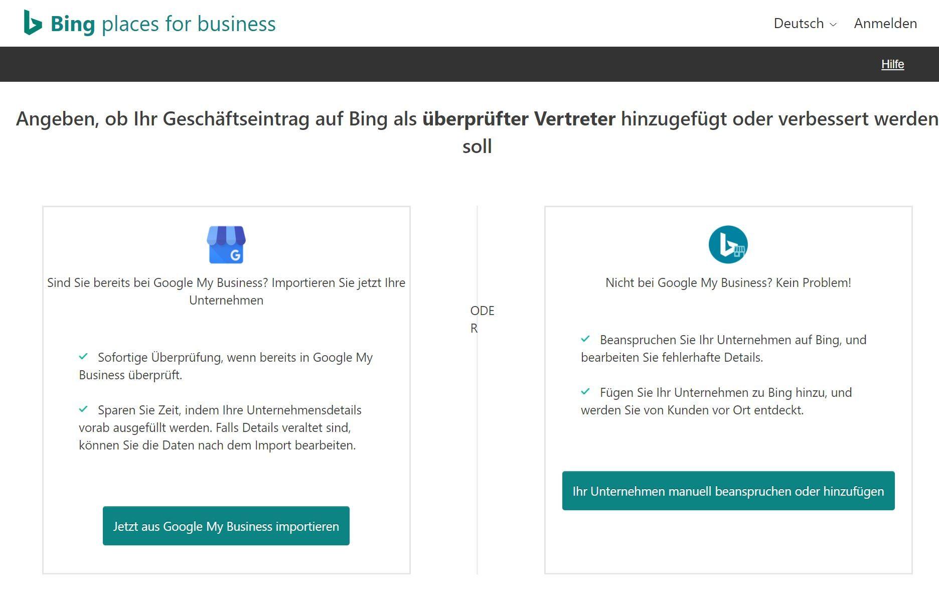 Bing Places Startmenü