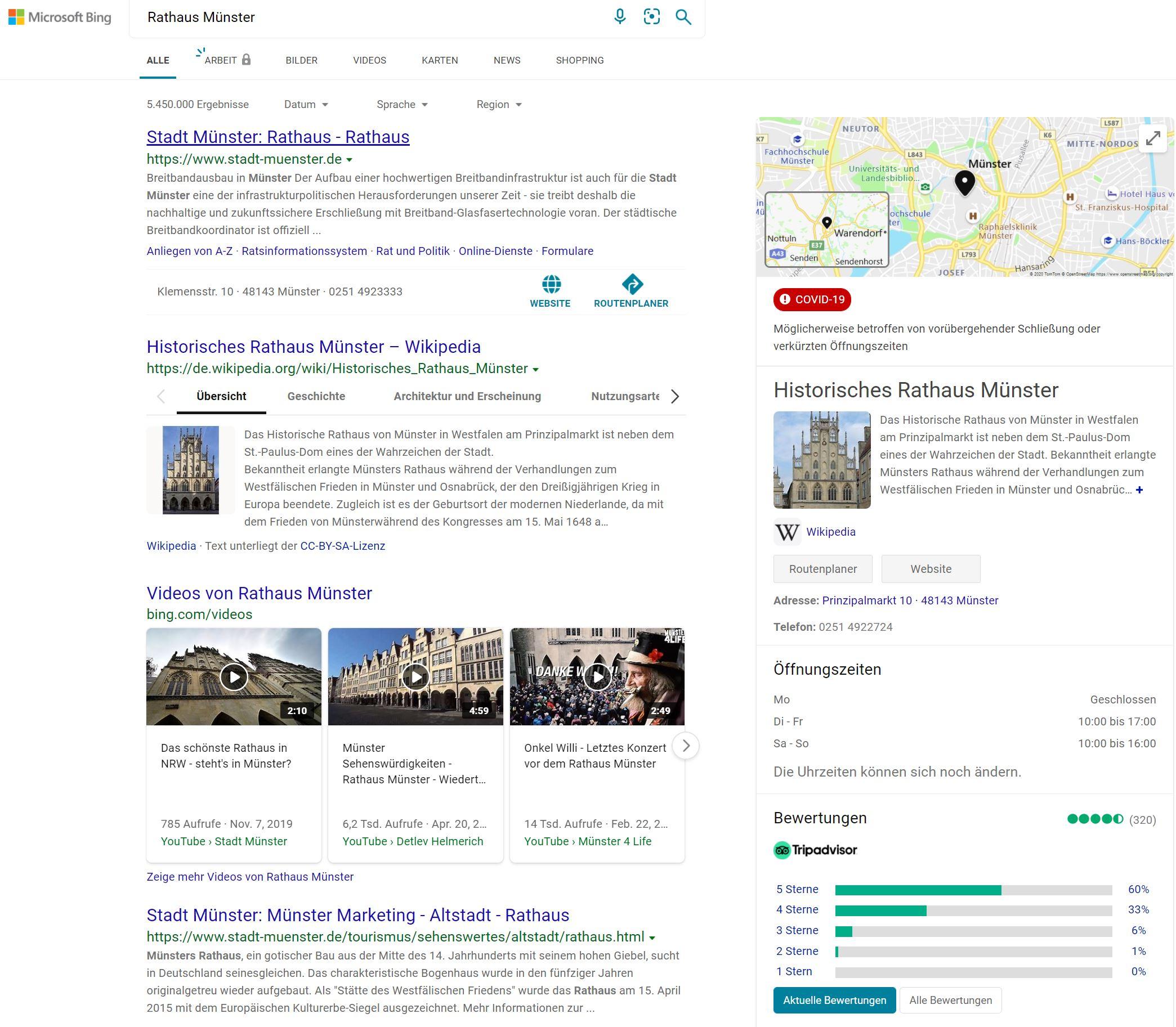 Bing Places Eintrag in der Suche