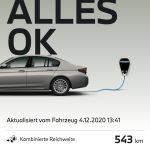 MyBMW-Smartphone-App mit Anzeige der Gesamtreichweite des BMW 530e von gut 540 Kilometern