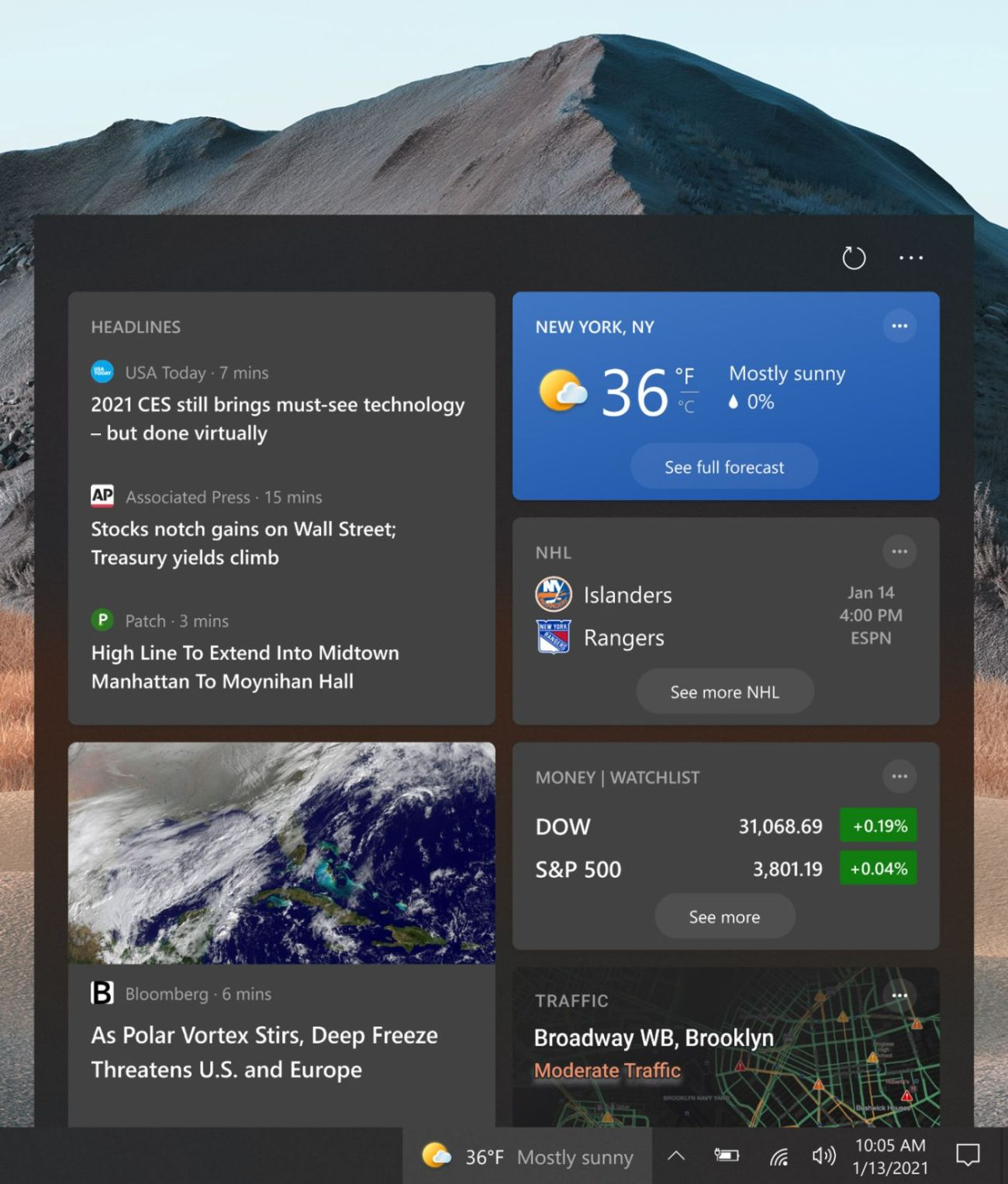News and Interests in Windows 10
