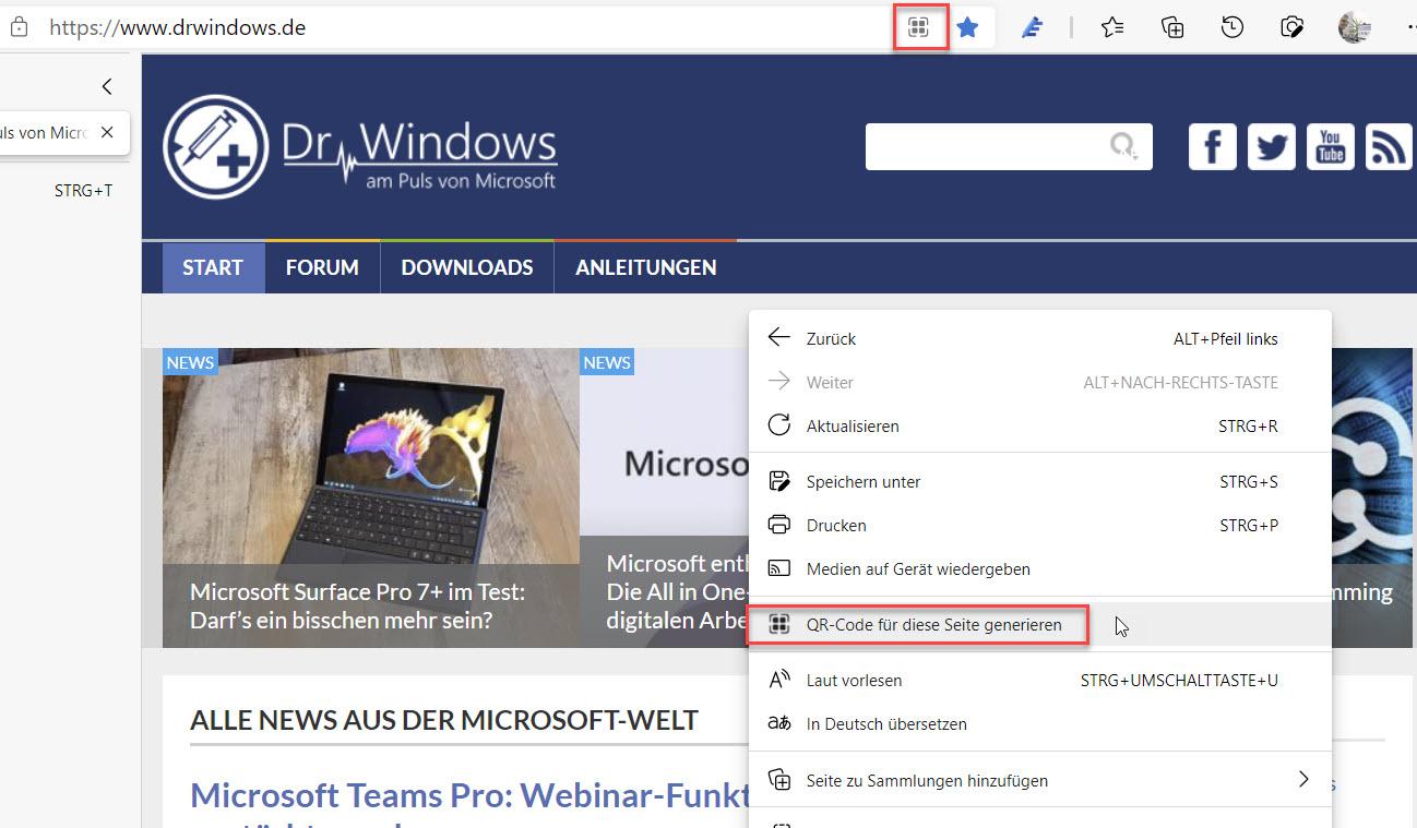 Seite per QR-Code teilen in Microsoft Edge