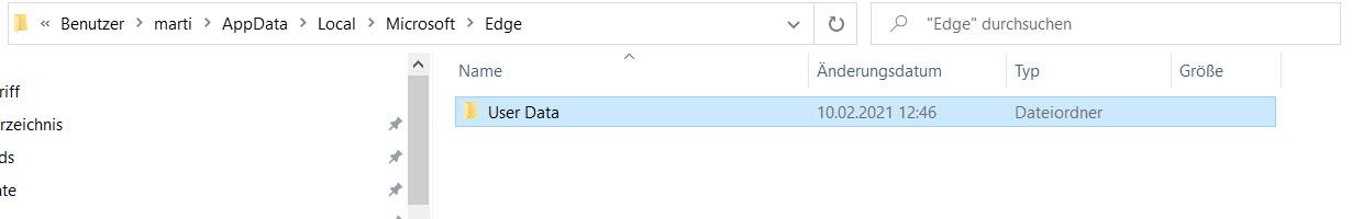 Benutzerprofilverzeichnis von Microsoft Edge
