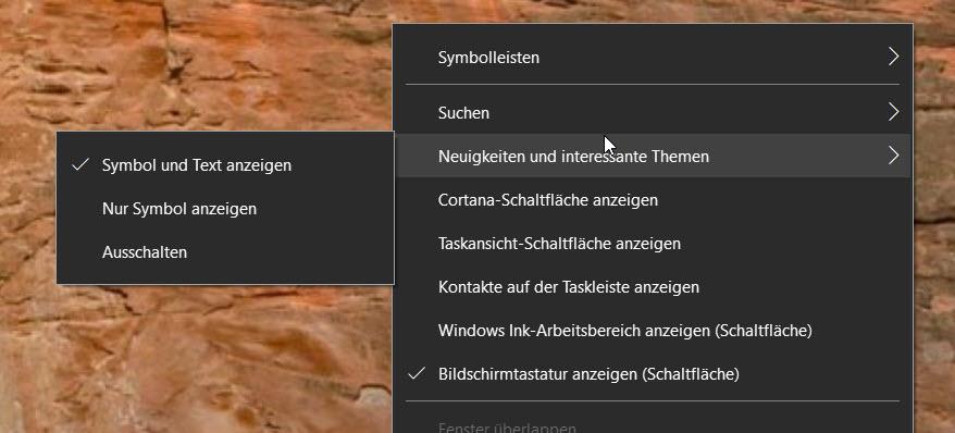 Nachrichten und Wetter in der Windows 10 Taskleiste