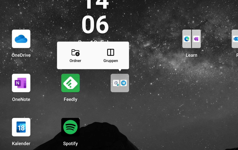 App Ordner auf dem Surface Duo