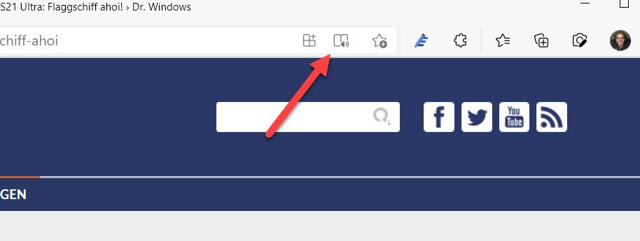 Icon für den plastischen Leser in Microsoft Edge