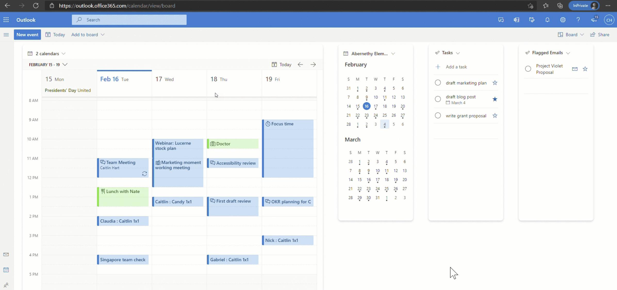 Boards im Outlook Kalender