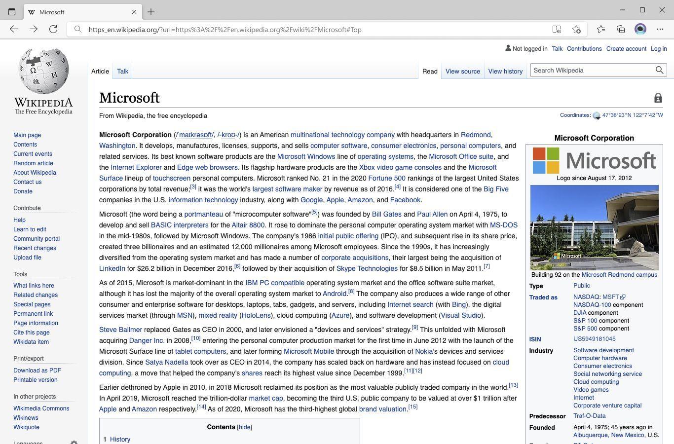 Wikipedia-Artikel über Microsoft in Microsoft Edge