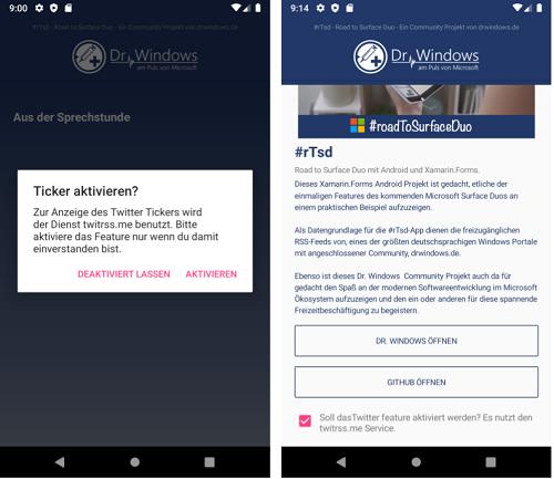 Der Twitter-Feed in der DrWindows App ist nun optional