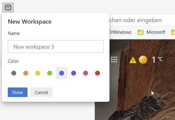 Arbeitsbereiche in Microsoft Edge