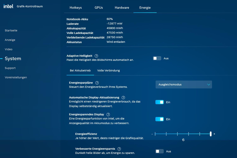Intel Grafik Kontrollraum