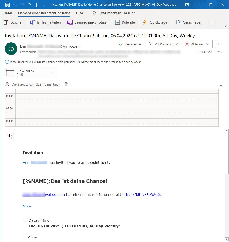 Termineinladung per Spam Mail