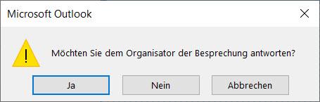 Outlook Löschbestätigung für einen Termin
