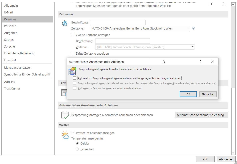 Automatische Beantwortung von Besprechungsanfragen in Outlook