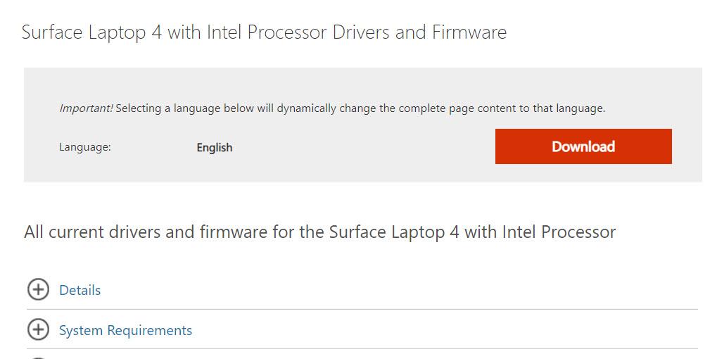 Surface Laptop 4 Firmware Download