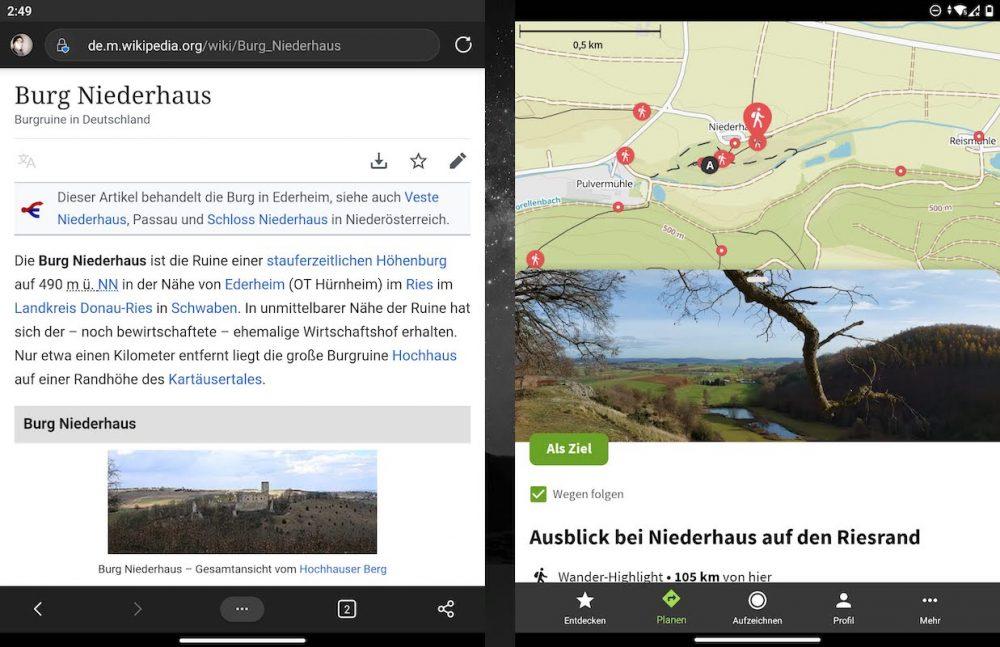 Navigation mit dem Surface Duo
