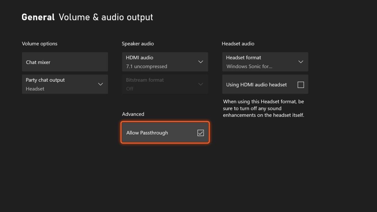 Xbox Audio Passthrough