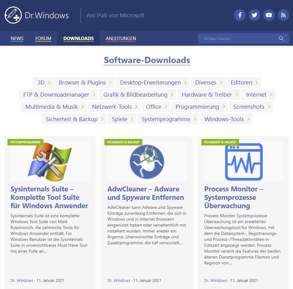 DrWindows Relaunch Vorschau
