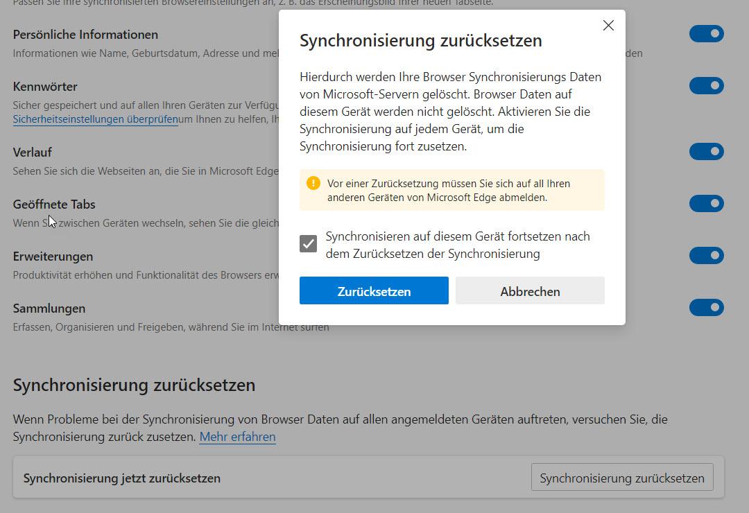 Microsoft Edge Synchronisierung zurücksetzen
