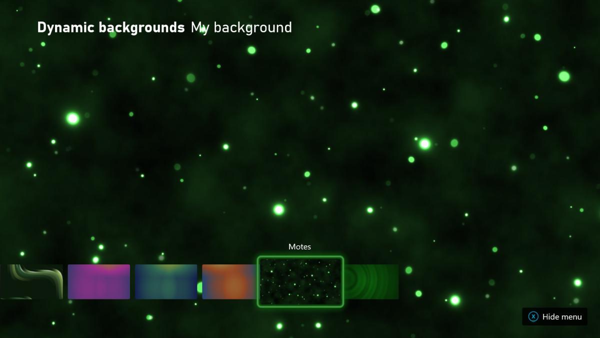 Dynmischer Hintergrund Motes für die Xbox