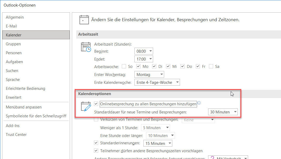 Outlook Kalendereinstellungen