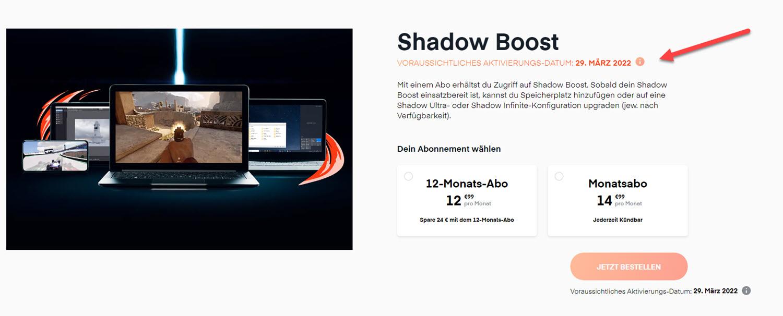 Shadow Bestellseite