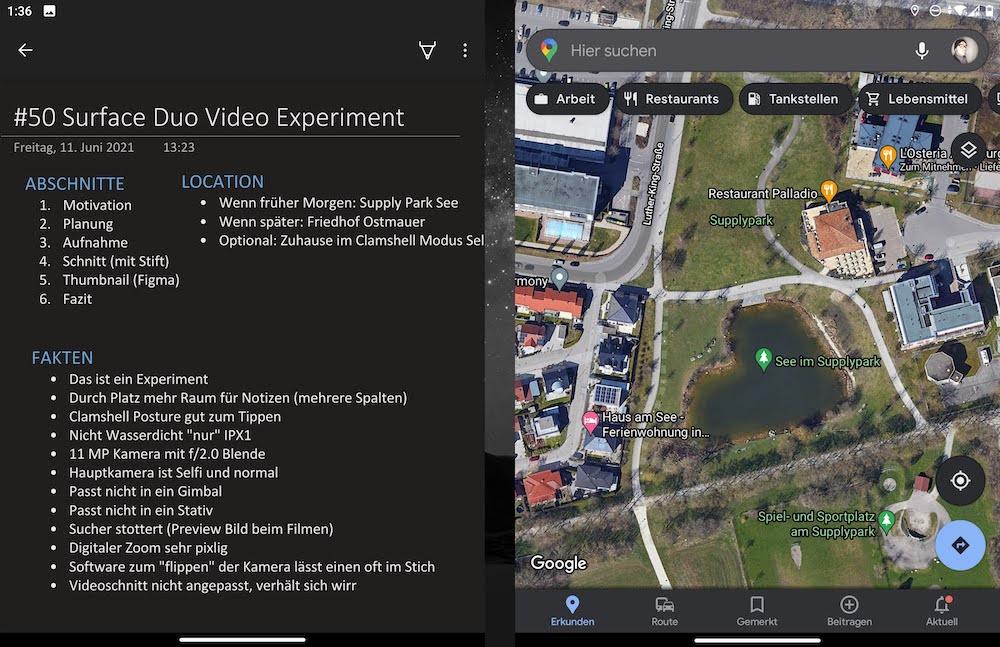 Das Surface Duo mit OneNote und Kartenanwendung