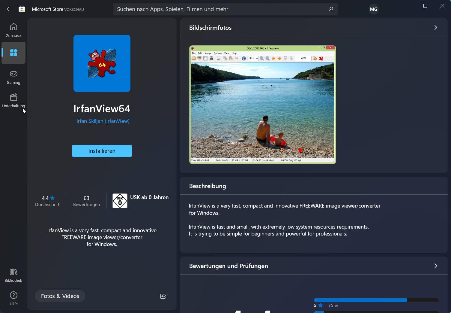 IrfanView im Windows 11 Store
