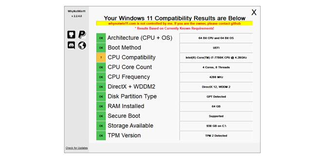 WhyNotWin11: Freier Entwickler zeigt Microsoft, wie man einen Kompatibilitäts-Check programmiert