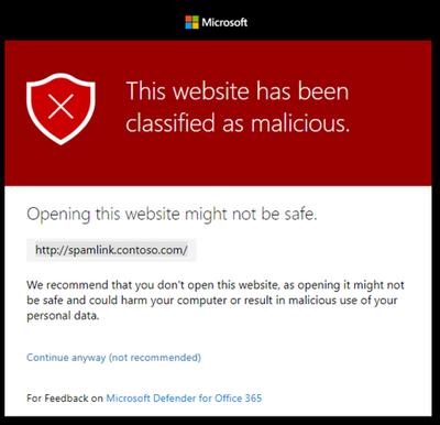 Meldung einer als gefährlich eingestuften Webseite