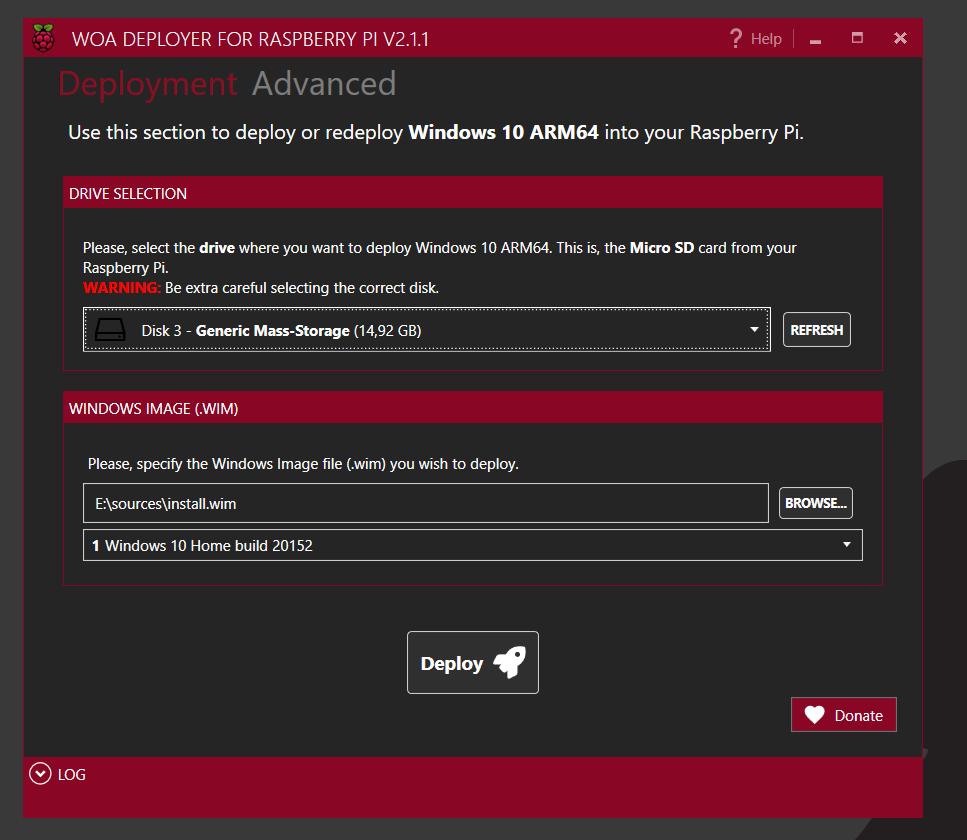 WOA Deployer für Windows On ARM für Raspberry Pi