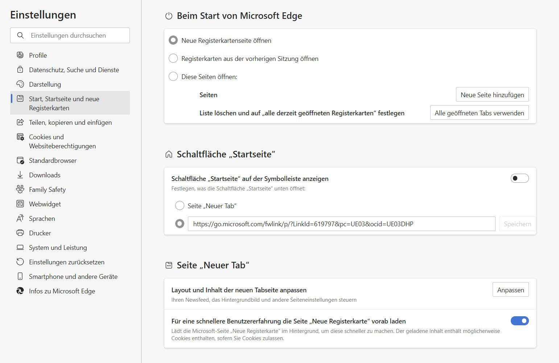 Microsoft Edge - vereinfachte Einstellungen