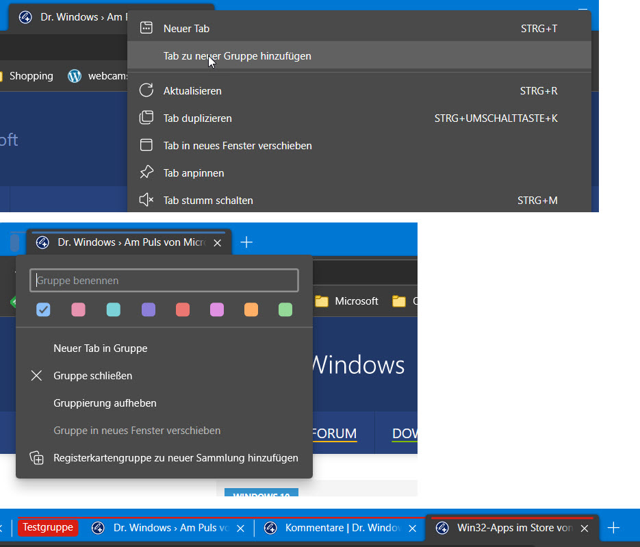 Microsoft Edge Tab Gruppen