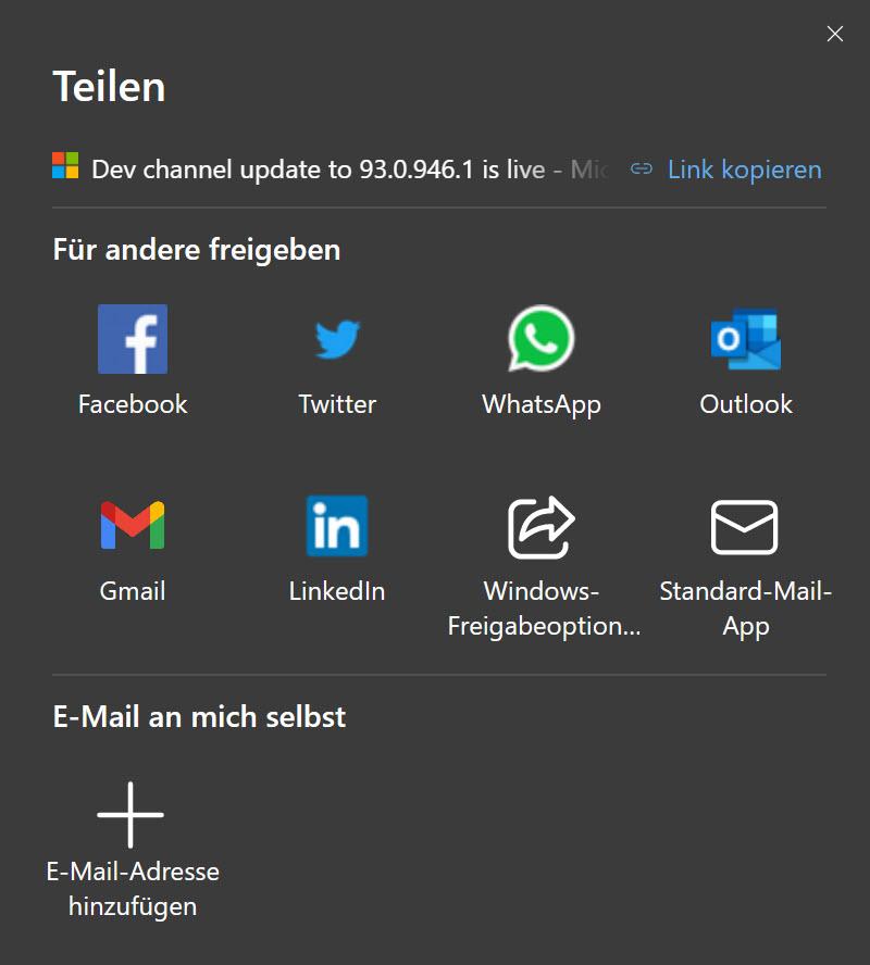 Neues Teilen-Menü in Microsoft Edge