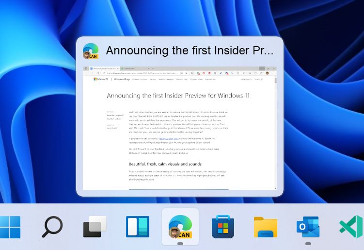 Windows 11 Taskleisten-Vorschau