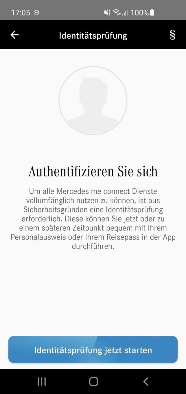 Zur Nutzung von Remote Services, wie etwa Fahrzeug-Monitoring, erfordert Mercedes eine Identitätsüberprüfung mittels Personalausweis.
