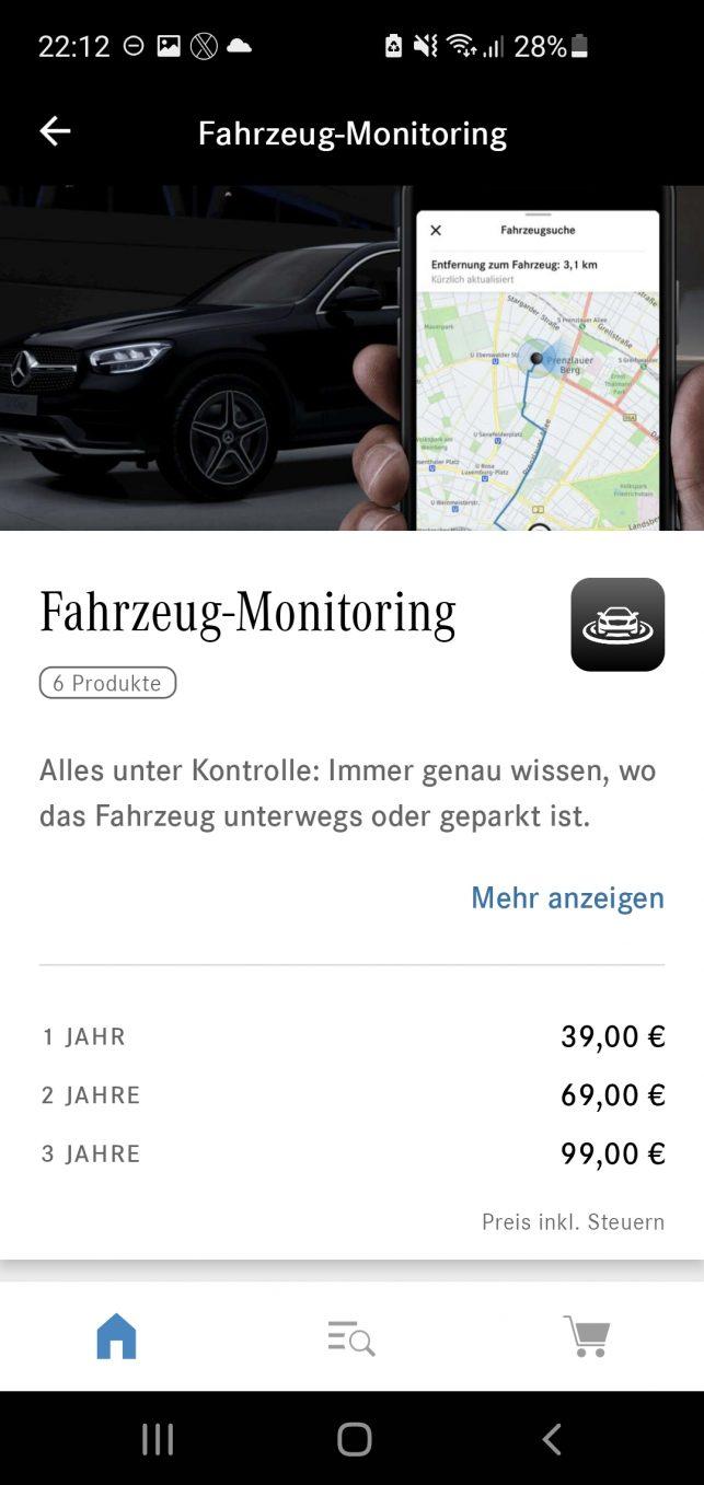 Der Remote Service namens Fahrezug-Monitoring beinhaltet eine Karte mit dem Standort des Mercedes und kann nur genutzt werden, wenn man an Mercedes ein Foto seines Personalausweises/Reisepasses gesendet und die Personenüberprüfung erfolgreich abgeschlossen hat.