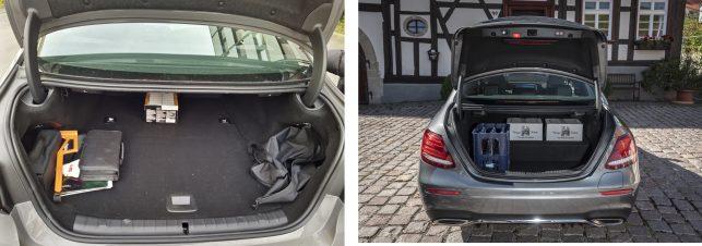 Vergleich-Kofferraum-BMW-530e-links-vs-Mercedes-Benz-E300de-rechts