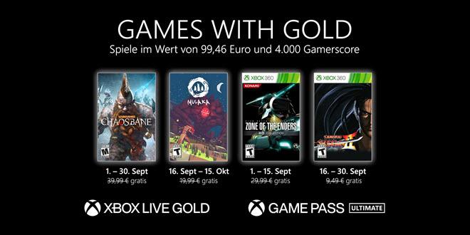Xbox: Microsoft stellt die Games with Gold für September vor