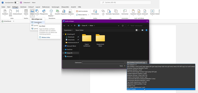 WEbP Dateien in Microsoft Office einfügen