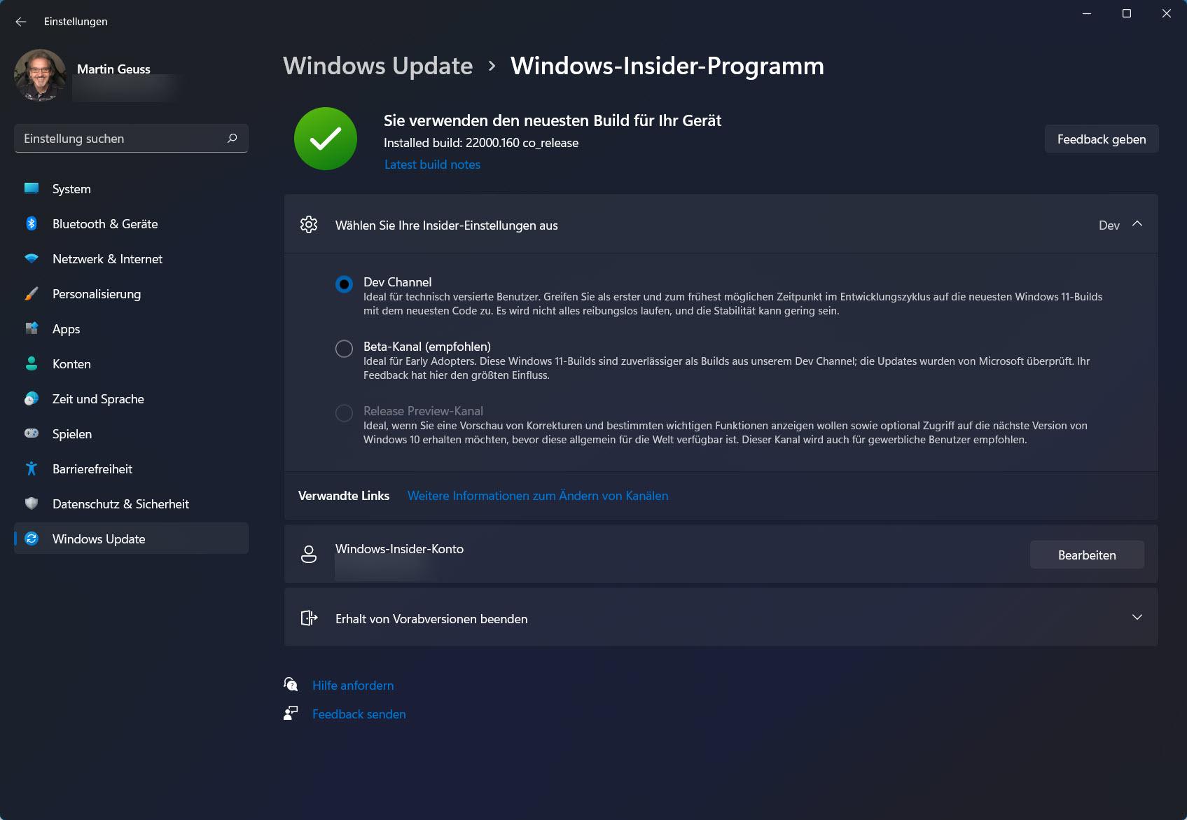 Windows 11 Insider Programm Einstellungen