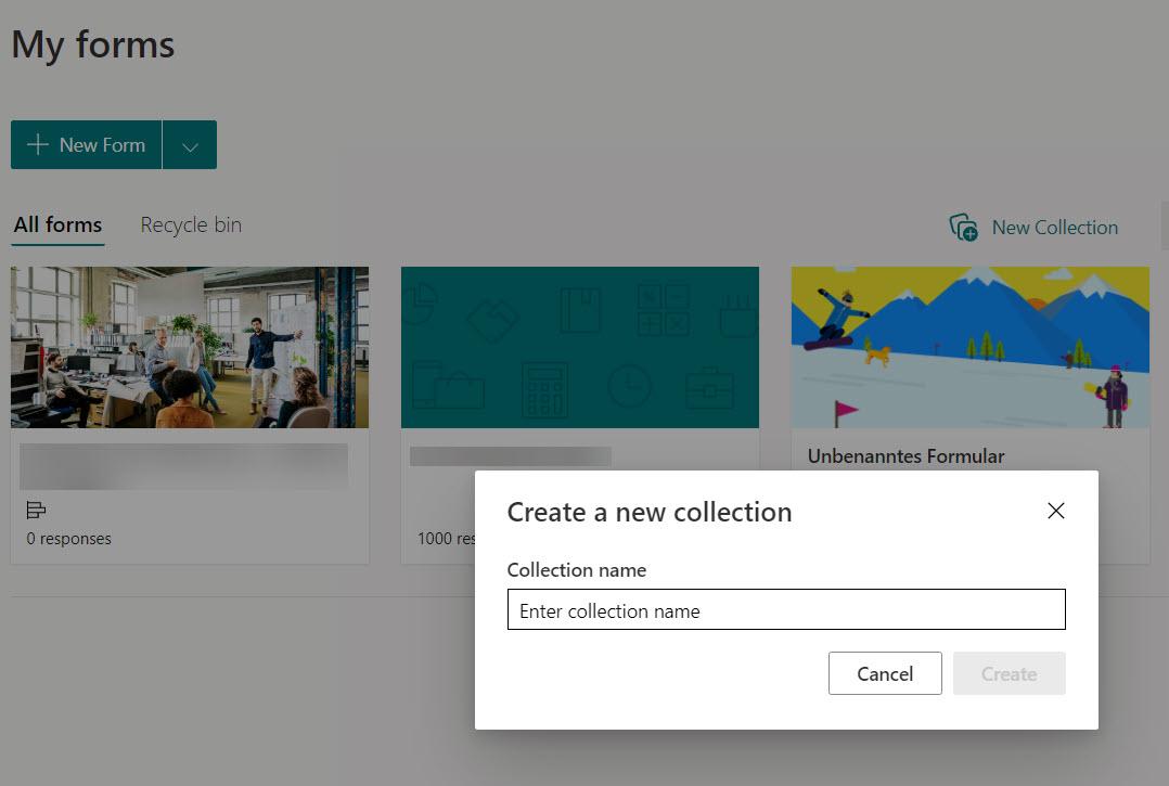 Microsoft Forms neue Sammlung