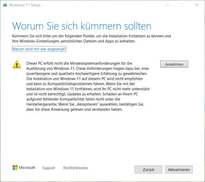 Windows 11 Upgradehinweis