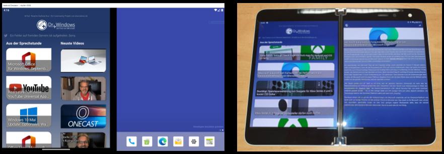 Experimentelle DrWindows App auf dem Surface Duo