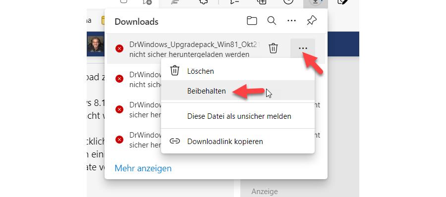 Blockierten HTTP Download in Edge freischalten - Schritt 1