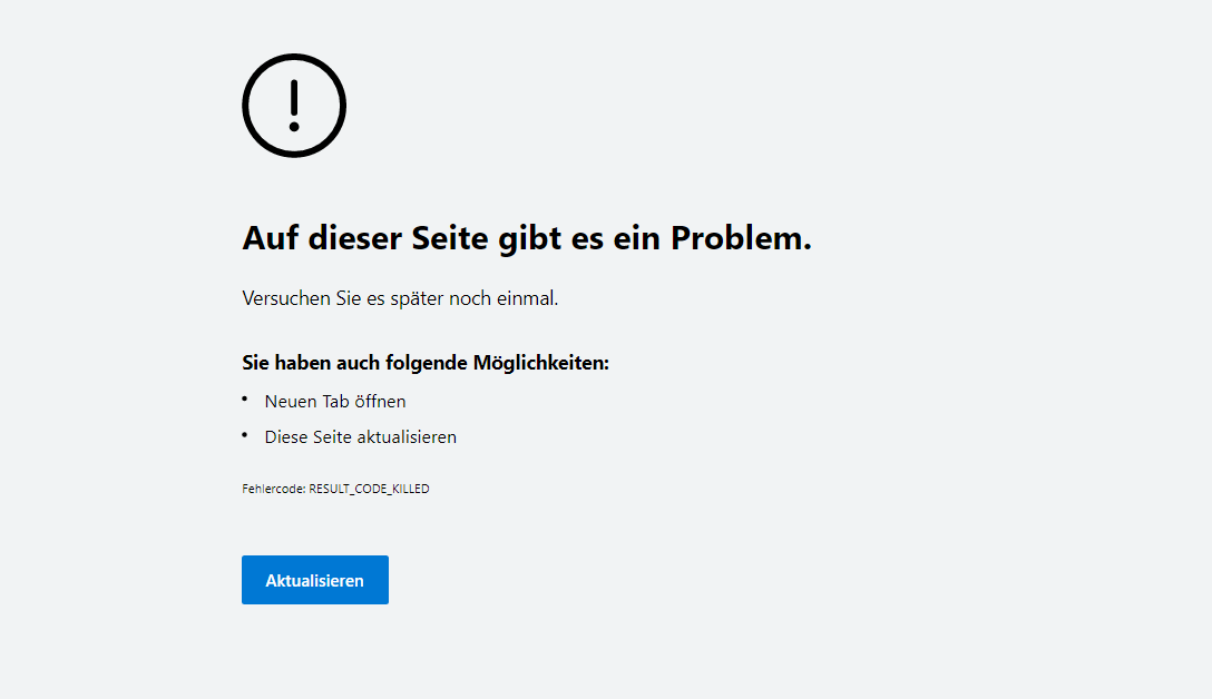 Edge Error Message: There is a problem on this page