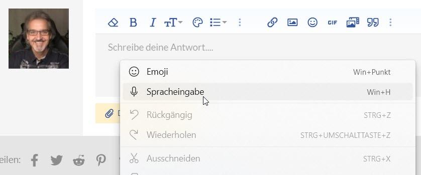 Microsoft Edge Spracheingabe