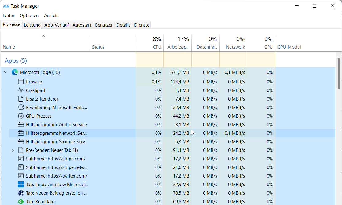 Microsoft Edge in the Windows 11 task manager