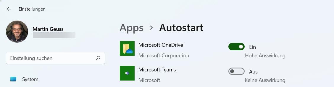 Microsoft Teams unter Windows 11 aus dem Autostart entfernen