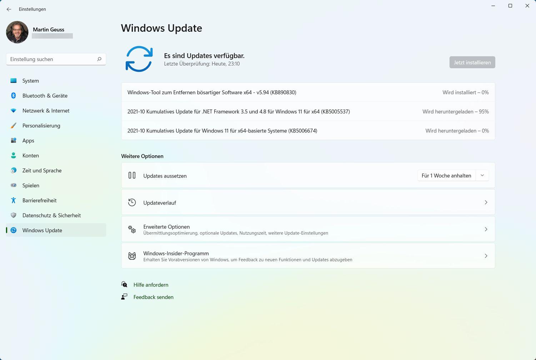 Windows 11 Oktober Patchday auf einem nicht unterstützten PC